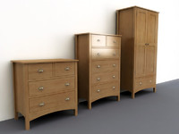 3d model set beech drawers wardrobe
