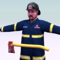 3d firefighter figure