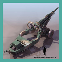 3d model m102 howitzer cannon gun