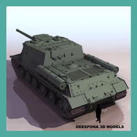 3d isu-152 soviet russian self-propelled model
