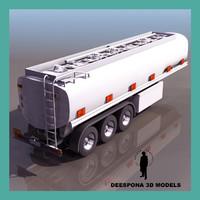 3d model jumbo tank truck trailer