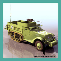 3d model of m3 half track carrier