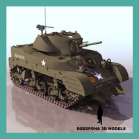 3d model of light tank stuart m3