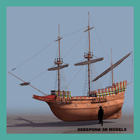 3d model mayflower british ship 1623