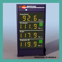 european petrol station price 3d model