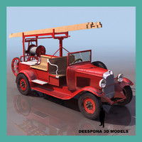 3d model antique french firefighter truck