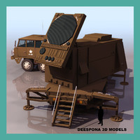patriot radar missile truck 3d model
