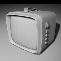 3d 1960s portable tv model
