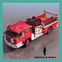 pumper truck firefighter 3d model