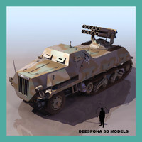 3d panzerwerfer 42 german half-tracked model