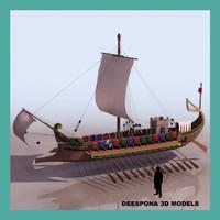 3d roman warship 31 b