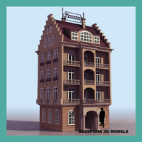 3d german vintage hotel pension model