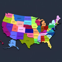 3d model of political usa states