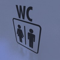 3d wc sign silhouette