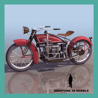 ace 1924 vintage motorcycle 3d model