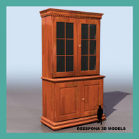 3d model bookcase windowed classic