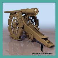 ITALIAN GUN ARTILLERY CANNON Obice 149/12 modello 14 WWI WWII