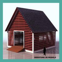 corncrib farm auxiliary building 3d model
