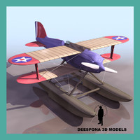 curtiss racing flying boat 3d model