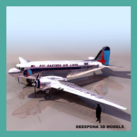 dc3 transport airplane wwii 3d model