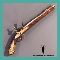 3d flintlock handgun xviii century model