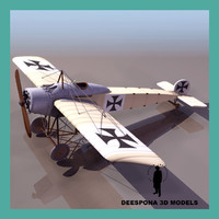 fokker eindeker german fighter 3d model