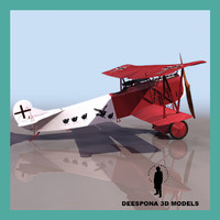 3d model fokker v 7 german