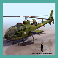 3d sa341d-f gazelle attack eurocopter model