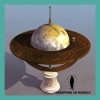 3d baroque era celestial globe