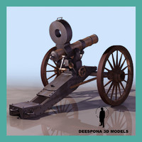 gatling 1860 machinegun american 3d model