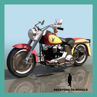 3ds max hd flstf fatboy motorcycle