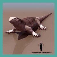 3d model monitor lizard reptile