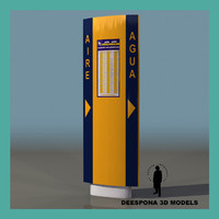 3d model air water petrol station