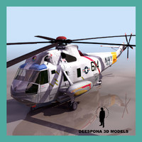 3d model sh3 seaking navy helicopter