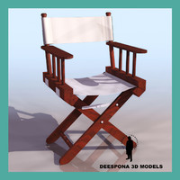 3d model wooden movie director´s chair