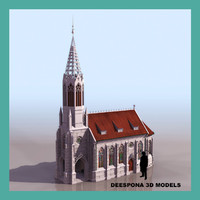 3d max stuttgar berg german church building