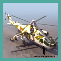 3d soviet russian helicopter hind model