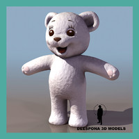 3d white teddybear toy model