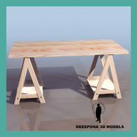 workbench wood table 3d model