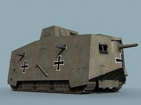 wwi german tank a7v 3d model