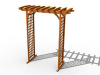 wooden arbor wood 3ds