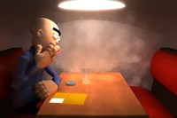 restaurant scene cigarette 3d ma