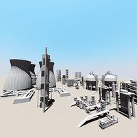 3d model industrial tower silo