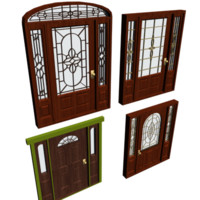 3d max door filagreed glass