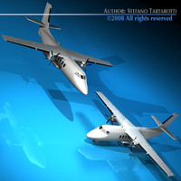 3d turboprop twin engine plane model