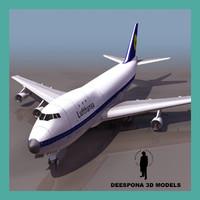 3dsmax 747 lufthansa jumbo jet