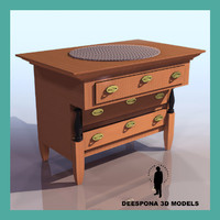 3d biedermeier commode cabinet
