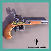 3d bucaneer handgun xvii century model