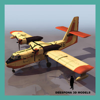 3d model of firefighting flying boat canadair cl-215
