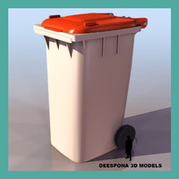 european urban garbage container 3d model
